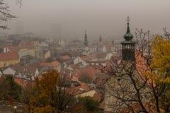 Torri nebbiose di Bratislava Fotografia Stock Libera da Diritti