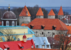 4 torri nella città di Tallinn Immagine Stock