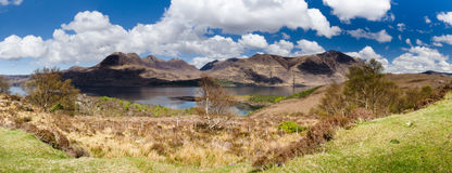 Torridon Mountains and Loch panorama Royalty Free Stock Photo