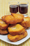 Torrijas, typical Lent spanish sweet, and moscatel Stock Photo