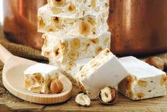 Torrone, типичные итальянские помадки праздников Стоковое Изображение RF