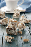 Torrone. Italian Traditional sweet Torrone with nut Stock Photos