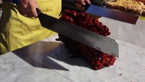 Torrone Siciliano - traditionele Siciliaans stock footage