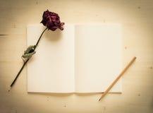 Torrt rosa och anteckningsbokpapper med blyertspennan Fotografering för Bildbyråer
