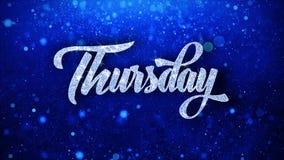 torsdag önskar blå text partikelhälsningar, inbjudan, berömbakgrund