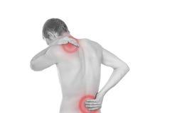 Torse mâle, douleur dans le dos Image libre de droits