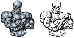 Torse musculaire de bande dessinée de vecteur avec la tête de crâne illustration stock