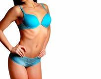Torse sexy et de forme physique dans des dessous bleus Image libre de droits