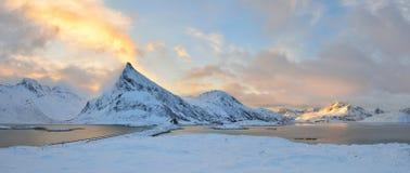 Torsfjorden inlet & Volandstinden mountain sunrise Stock Photos