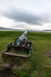Torshavn, cannon aims at ship, Faroe Islands Stock Images