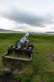 Torshavn, cannone punta sulla nave, isole faroe immagini stock