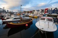 Torshavn, Faroe Islands. – SEP 14, 2009: Harbor of Torshavn, capital and largest town of Faroe Islands on September 14, 2009 stock image