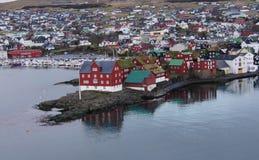 Torshavn, opinião Ilhas Faroé de Tinganes Fotografia de Stock Royalty Free