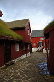 Torshavn red turf roofed houses,  Faroe Islands Stock Image