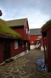 Torshavn red turf roofed houses,  Faroe Islands Stock Image