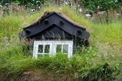 Torshavn turf roof of house,  Faroe Islands Stock Photo