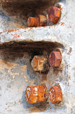 Torsione arrugginita del ferro su un macchinario Fotografia Stock