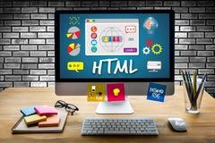Torsk för utveckling för rengöringsduk för internet för programvara för global kommunikation för HTML Royaltyfria Foton
