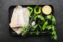 Torskfilé av den nya vita fisken på en bakplåt med selleri, citron, örter, saftig paprika Top beskådar enkelt hemlagat royaltyfria foton