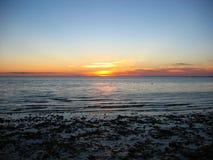 torsksolnedgång för 05 udd Fotografering för Bildbyråer
