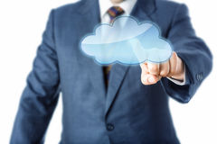 Torso av affären Person Touching Blank Cloud Icon Royaltyfri Foto