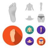 Torso, ben, hals och bakdelar Kroppsdelar ställde in samlingssymboler i monokrom, illustration för materiel för symbol för lägenh vektor illustrationer