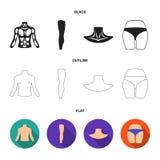 Torso, ben, hals och bakdelar Kroppsdelar ställde in samlingssymboler i svart, lägenheten, materiel för symbol för översiktsstilv royaltyfri illustrationer