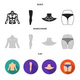 Torso, ben, hals och bakdelar Kroppsdelar ställde in samlingssymboler i svart, lägenheten, monokromt materiel för stilvektorsymbo royaltyfri illustrationer
