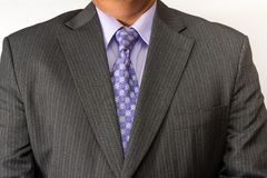 Torso of a business man wearing a suit. Elegant business person wearing a neat suit and tie Royalty Free Stock Images