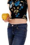 Torso de la mujer con las manzanas Fotos de archivo
