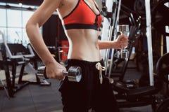 Torso de una mujer joven de la aptitud con pesas de gimnasia de elevación en el gimnasio Fotos de archivo libres de regalías