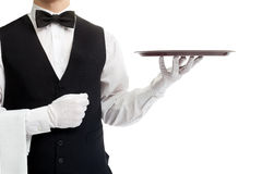 Torso del cameriere con il vassoio vuoto Fotografia Stock Libera da Diritti