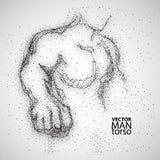 Torso del hombre Dibujo gráfico con las partículas negras Fotos de archivo libres de regalías
