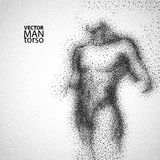 Torso del hombre Dibujo gráfico con las partículas negras Fotos de archivo