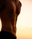 Torso del hombre fuerte contra puesta del sol Imagen de archivo libre de regalías