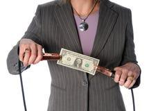 Torso della donna che Jump-Starting dollaro Bill Immagine Stock Libera da Diritti
