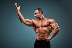 Torso des attraktiven männlichen Bodybuilders auf grauem Hintergrund stockbilder