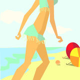Torso and the legs girl. Vector image of the torso and the legs girl in blue swimsuit walking on the sea beach summer day Stock Image