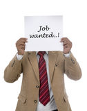 Torso of Man Holding Job Wanted sign Royalty Free Stock Photography