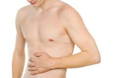 Torso masculino, dolor en el abdomen Imagen de archivo libre de regalías