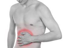 Torso masculino, dolor en el abdomen Foto de archivo