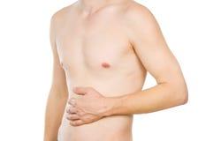 Torso masculino, dolor en el abdomen foto de archivo libre de regalías