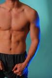 Torso masculino magro en azul Foto de archivo