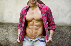 Torso of muscular young man with open shirt Royalty Free Stock Photos