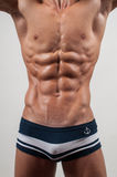 Torso with six pack. Male torso with strong abs Stock Photos