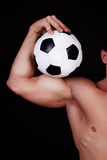 Torso of soccer player. Image of torso of player with ball Royalty Free Stock Photo