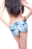 Torso of topless girl. In a blue jeans Stock Image