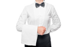 Torso of waitress in a white shirt with a towel on his hand Stock Photography