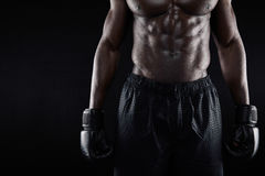 Torso of young african male boxer. Closeup image of torso of young african male boxer wearing boxing gloves and shorts against black background royalty free stock photos