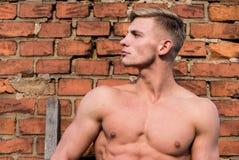 Torsostand-Backsteinmauerhintergrund des muskulösen Kastens des Mannes nackter Attraktiv und überzeugt Sexy Torsosportler Mann mu stockfoto